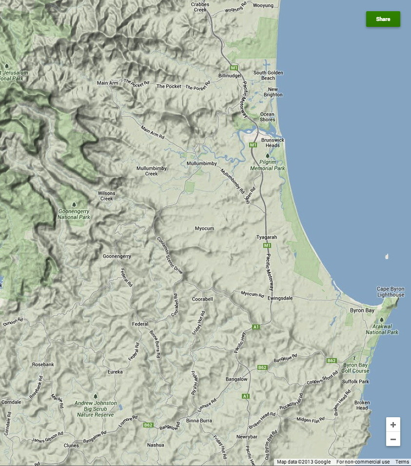 Map of Byron Shire, NSW